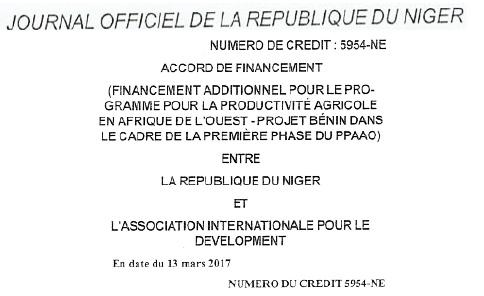 Journal officel Republique Niger